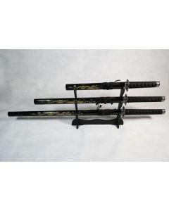 Set of 3 Golden Dragon Samurai Swords on Stand