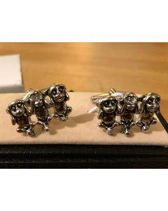 Cufflink Pair in Box Cute Monkeys